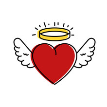 Cute Heart With Wings And Halo...