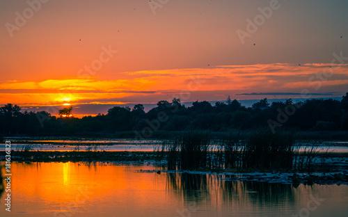 Poster Oranje eclat Sunrise on river