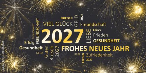 Poster  Silvesterkarte mit Glückwünschen für 2027