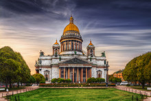 View Of Isaac's Cathedral From Park Square In St. Petersburg.  Text (the Quote From Matthew Gospel)  In Old Church Slavonic: Temple Is My Home, It's For Praying.