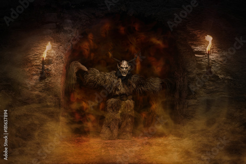 Canvas Print Devil comes out of the dark