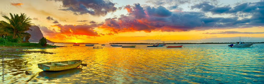 Fototapety, obrazy: Fishing boat at sunset time. Le Morn Brabant on background. Panorama landscape