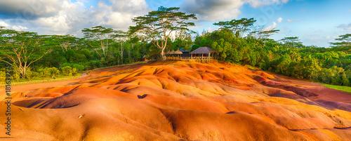 Poster de jardin Orange eclat Seven colour earth. Beautiful landscape. Mauritius. Panorama