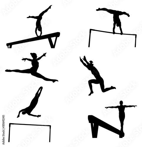 Fotografia  set female athletes gymnasts in artistic gymnastics silhouette
