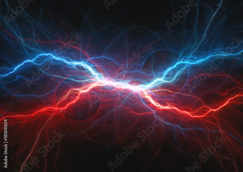 Red and blue electrical lightning, firea and icel plasma Canvas