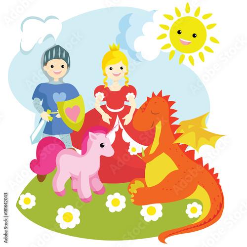 Foto op Aluminium Kasteel Images of a knight, a princess, a unicorn, a dragon.