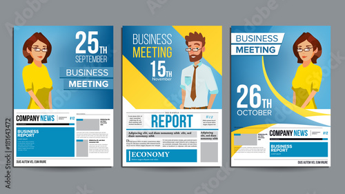 Business meeting poster set vector businessman and business woman business meeting poster set vector businessman and business woman invitation and date conference stopboris Image collections