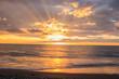 red Sunset on seascape. Sunrise background. paesaggio mare al tramonto. Alba. color sky and clouds. Sunshine.