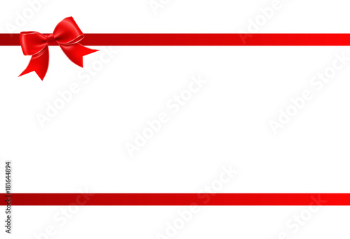 Fotografie, Obraz  Gift card with red ribbon and a bow - Gift voucher template with place for text