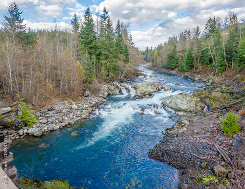 Beautiful Mountain River at Lucille Lake, Sea-to-Sky Hwy, Whistler, Vancouver, Canada Canvas Print