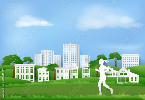 Deurstickers Groene Woman jogging in the park of village, Paper art background paper cut illustration