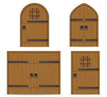 Old Wooden Door Vector Illustr...