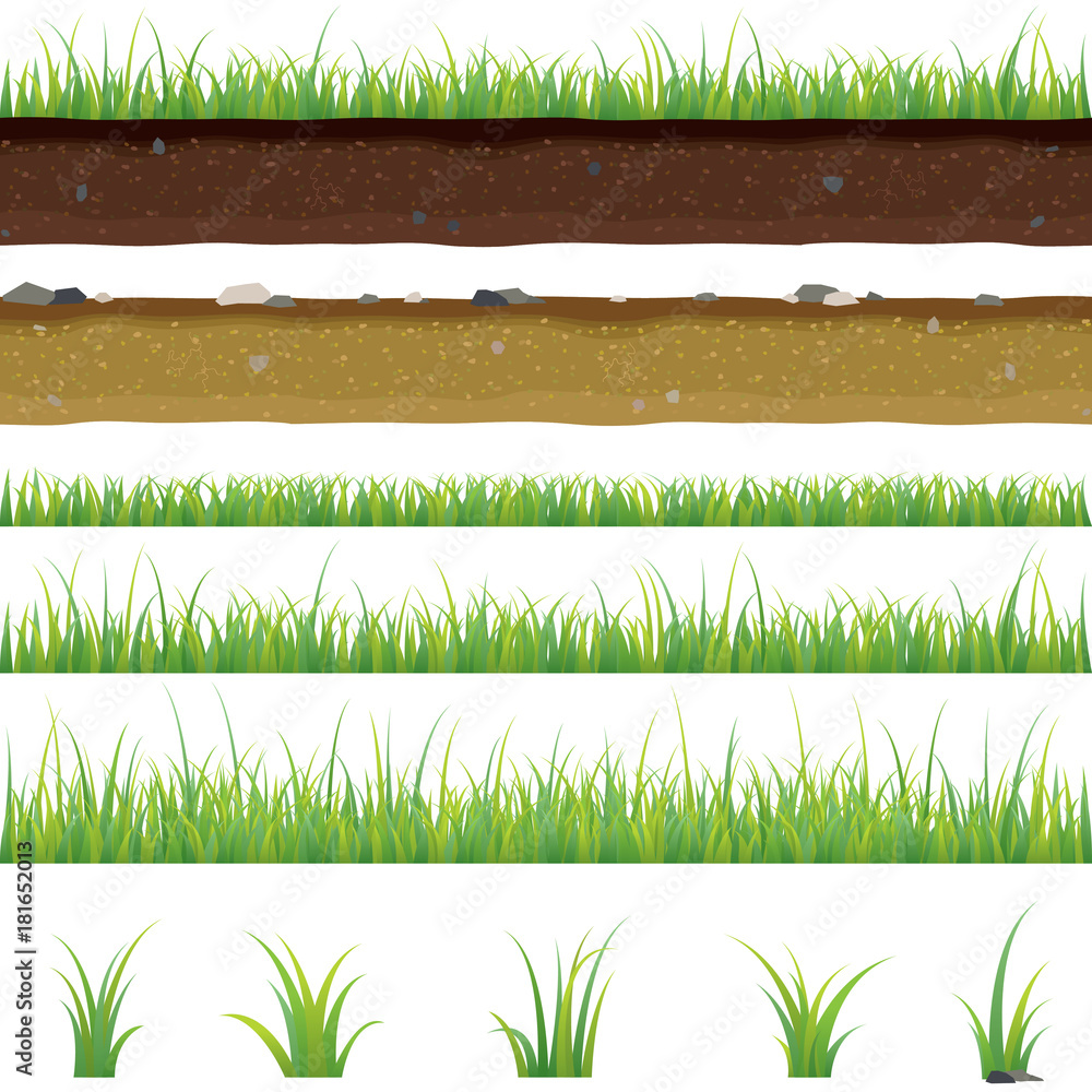 Fototapety, obrazy: Set of seamless horizontal pattern with grass and soil