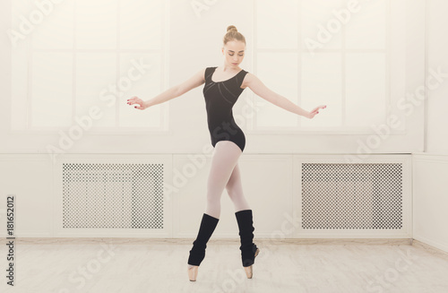Beautiful ballerina stands in ballet assemble