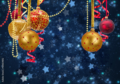 Christmas Ball Garlands.Red And Golden Christmas Balls Garlands On Blue Winter