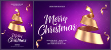 Christmas Card Or Flyer And Poster Template With Golden Christmas Tree Made Of Ribbon