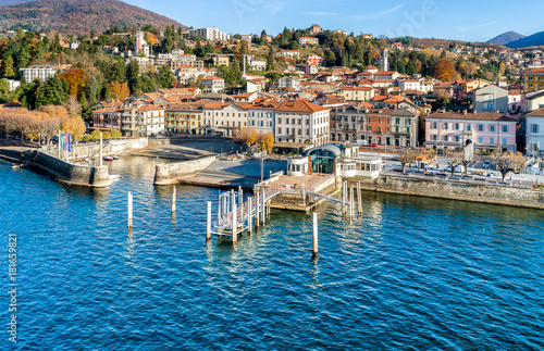 Tuinposter Stad aan het water Aerial view of Luino, is a small town on the shore of Lake Maggiore in province of Varese, Italy.