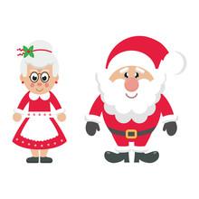Cartoon Mrs Santa And Santa Cl...