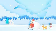 Santa Claus, Snowman And Reind...