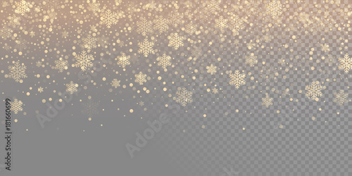 Fotomural Falling snow flake golden pattern background