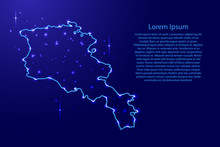 Map Armenia From The Contours Network Blue, Luminous Space Stars For Banner, Poster, Greeting Card, Of Vector Illustration