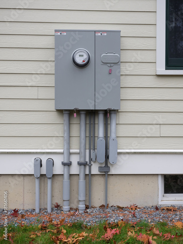 Outdoor electrical panel on new house