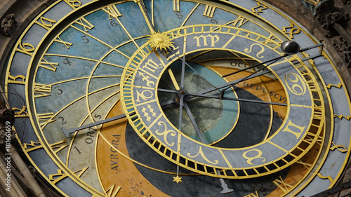 Staande foto Praag Astronomical Clock Tower detail in Old Town of Prague, Czech Republic. Astronomical clock was created in 1410 by the watchmaker Mikulas Kadan and mathematician-astronomer Jan Schindel.