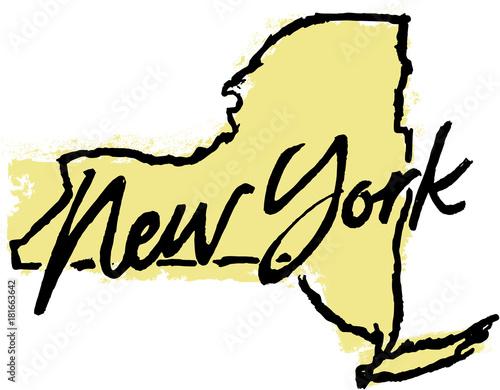 Ręcznie rysowane projekt stanu Nowy Jork