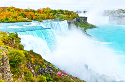 Fotografie, Tablou  View of Niagara Falls from American side in autumn.