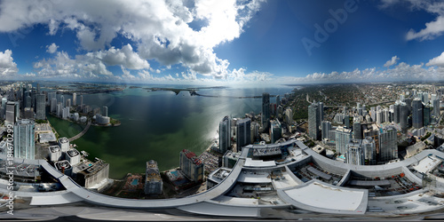 Aerial 360 spherical panorama Brickell Miami above buildings