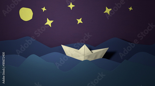Papercut Sailing Boat Postcard Paper Craft Boat In The Sea Waves