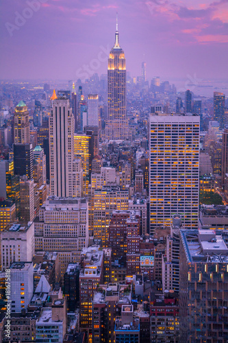 Sunset from Rockefeller Center Top of the Rock Observatory, New York City Canvas Print