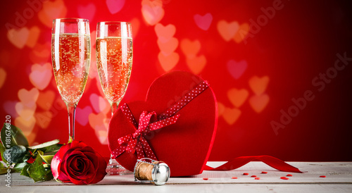Fotografie, Obraz  Valentines day background with champagne