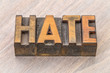 hate word abstract in wood type