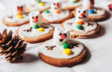 Army Of Melted Snowmans On Ginger Cookies.