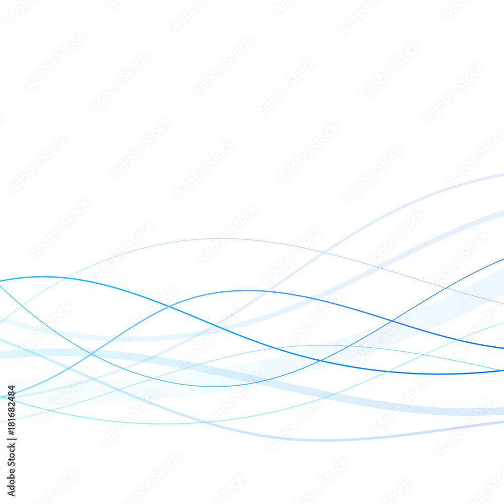 Abstract blue lines on white background