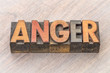 anger word abstract in wood type