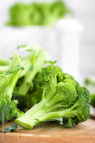 Fresh broccoli on white background closeup