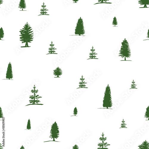 Plakat z motywem drzew iglastych