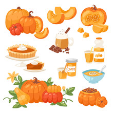 Pumpkin Food Vector Soup, Cake...