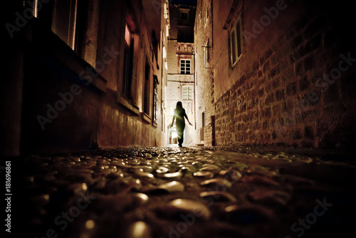 Street of ancient medieval city Dubrovnik at night