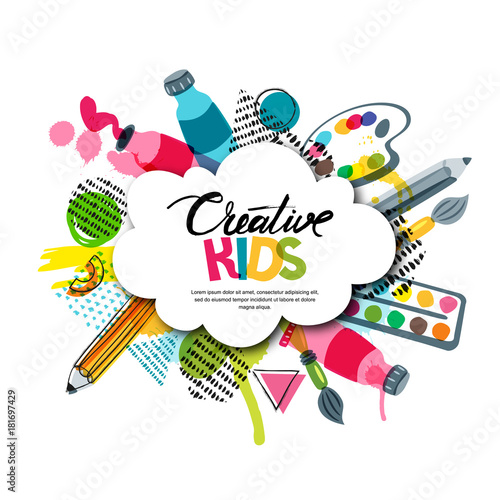 Kids art craft education creativity class concept for Arts and craft paint