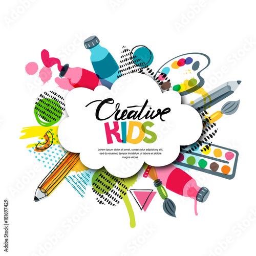 White Education Background Vector Vector Art Graphics: Kids Art Craft, Education, Creativity Class Concept
