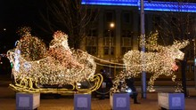 Sledge Of Santa Claus, Image Of Shone Bulbs On A Christmas-tree