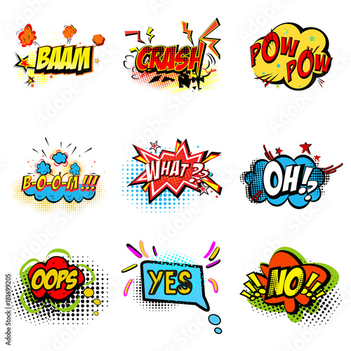 Fotobehang Pop Art Pop art ilustration. Onomatopoeic expressions: crash, pow, boom, what, oh, oops, yes, no. Vector cartoon explosions with different emotions isolated on white background.