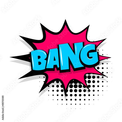 Bang Boom Gun Comic Text Speech Bubble Balloon Pop Art Style Wow Banner Message Comics Book Font Sound Phrase Template Halftone Dot Vector Illustration Funny Colored Design Buy This Stock Vector
