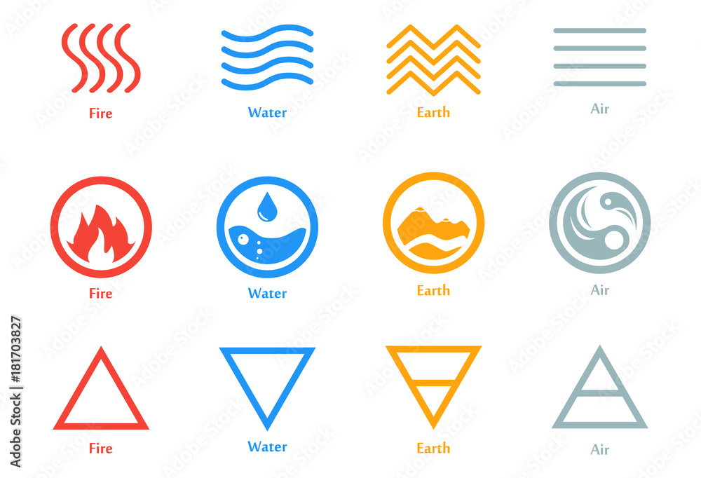 Fototapeta Vector illustration of four elements icons, line, triangle and round symbols set. Logo template. Wind, fire, water, earth symbol. Pictograph.