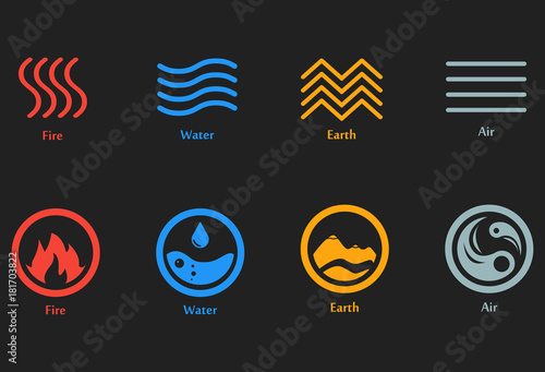 vector illustration of four elements icons  line and round