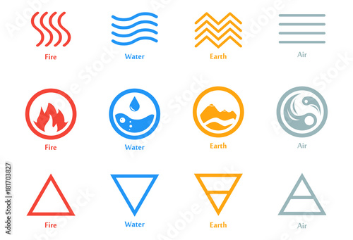 Fototapeta Vector illustration of four elements icons, line, triangle and round symbols set. Logo template. Wind, fire, water, earth symbol. Pictograph. obraz