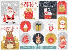 Set Of Christmas And New Year Labels And Cards. Vector Illustration.